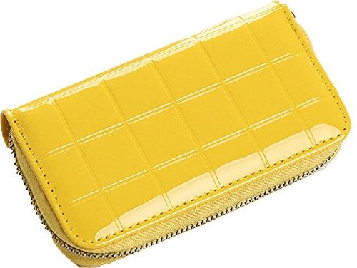 Geldbörse Clipverschluss Reißverschluss Münzfach Platz für Smartphone Organizer Brieftasche Mädchen Geldbeutel Portmonee Glatt Leder-Optik