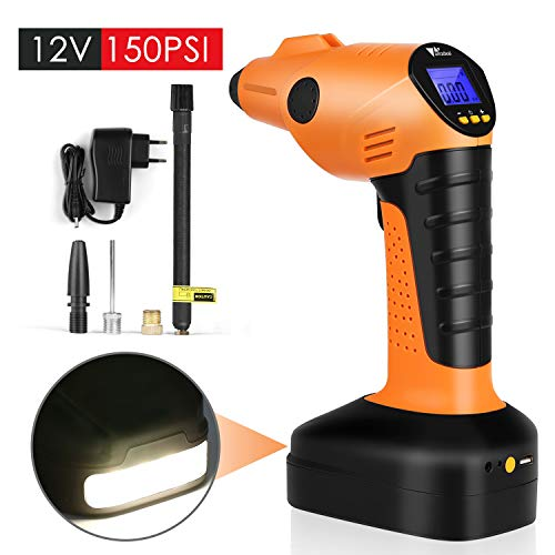 Amzdeal Air Compressor Portable Electric Inflator Portable Hand Held Auto Pump 12V 150PSI,60L/min,with Digital LCD Rechargeable Emergency Power Supply, Wireless Tire Pump for Cars, Bikes, Balls,Airbed