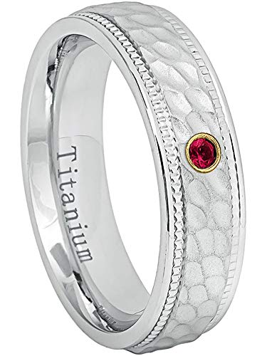 0.07ct Ruby Titanium Ring - July Birthstone Ring - 6MM Comfort Fit White Dimpled Center with Milgrained Edge Titanium Wedding Band - 8