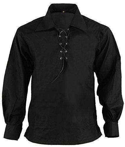 Schotte Hochland Jacobite Jacobean Ghillie Kilt Hemd, Schwarz, XL