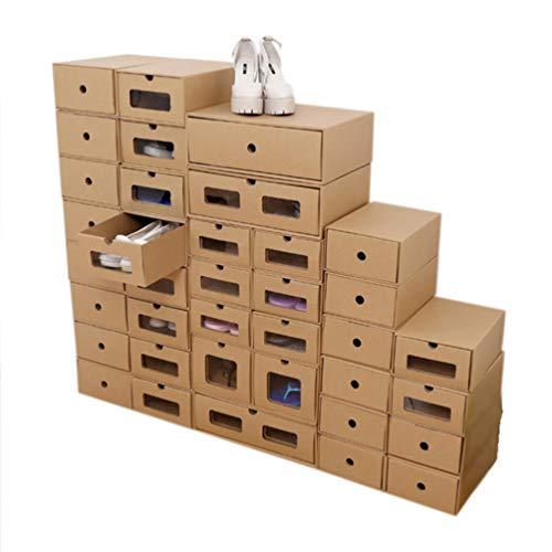 YARNOW 6Pcs Boîte à Chaussures Empilable Boîte de Rangement pour Chaussures en Carton Organisateurs de Conteneurs à Chaussures Pliables avec Fenêtre Visible (30X21cm)