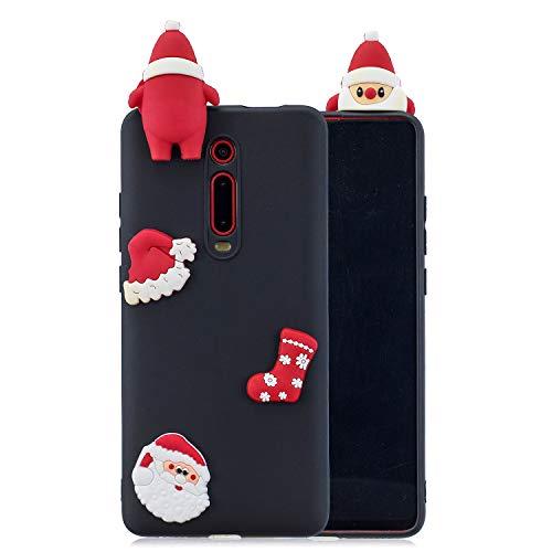 SEEYA 3D Funda Silicona para Xiaomi Mi 9T Suave Goma Cover Flexible y Ligera Diseño Cute Navidad Delgado Carcasa Negro Ultra Fina para Xiaomi Mi 9T, Navidad Gorra Calcetines Papa Noel