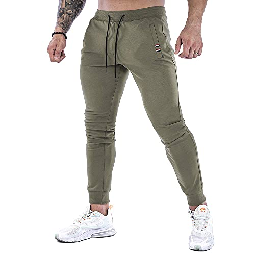 NA. Men's Gym Jogger Pants Slim Fit Workout Running Sweatpants with Zipper Pockets (Army Green, M)