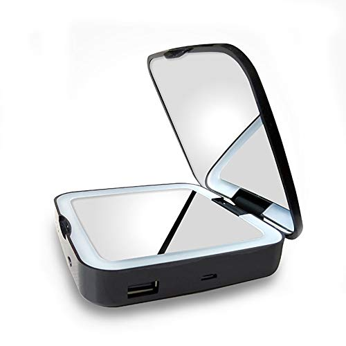 HAJZF LED Make Up Miroir Portable Power Bank Make Up Mirror 1X / 5X Grossissement du Verso Petit Miroir Pliant De Poche Pocket Miroir Illuminé