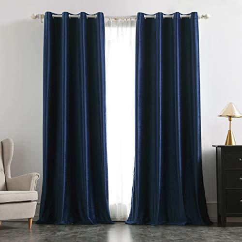 MIULEE 2 Stück Verdunklungsvorhang Samtvorhänge Blickdicht Vorhang mit Ösen Thermogardine Ösenvorhang Verdunkelungsgardinen für Schlafzimmer Wohnzimmer,140 x 245 cm(B x H) Navy Blau