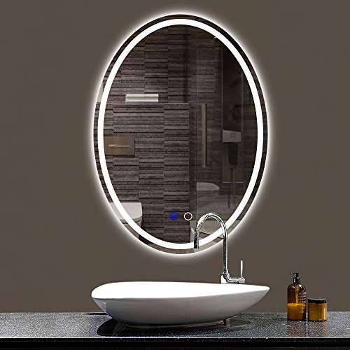 Keonjinn Oval Bathroom LED Mirror 24 x 32 Inch Lighted Makeup Mirror -