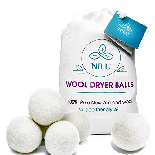 Wool Dryer Balls by Nilu, 6 Pack, XL 100% Organic...