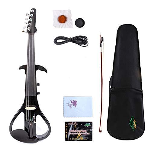 HUANH 5 cuerdas violín eléctrico eje guitarra violín electrónico negro-3 HUANH