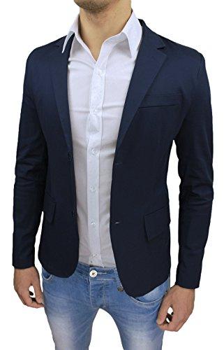 Giacca Uomo Sartoriale Blu Scuro Slim Fit Super Aderente Elegante Casual Estiva (L)