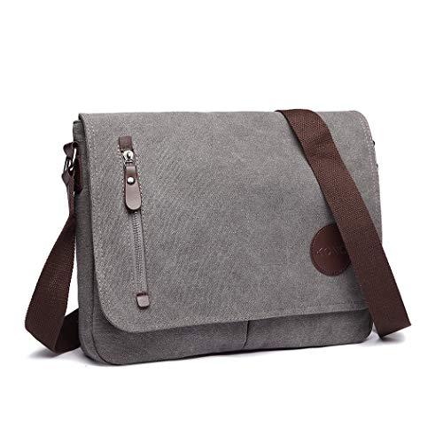 Kono Umhängetasche Herren Messenger Bag Canvas Schultertasche Kuriertasche Herrentasche Tasche Arbeit Arbeitstasche 14 Zoll Laptoptasche (Grau)