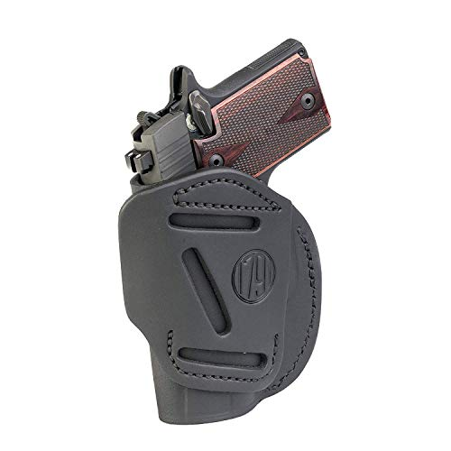 1791 GUNLEATHER 4-Way SIG Holster - OWB and IWB CCW Holster - Right Handed Leather Gun Holster - Fits Sig Sauer P365 Ruger LCP 380 and SW Bodyguard - Stealth Black