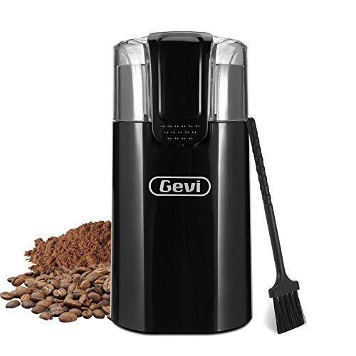 Coffee Grinder Electric, Gevi 150W Spice Grinder with Stainless Steel Blade & Bowl, One-Touch Control Coffee Bean Grinder for Nuts, Sugar, Grains, Clear Lid, 50g/8 Cups, Black