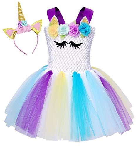 WonderBabe Disfraz De Princesa Unicornio para Niñas Vestido Tutú para Niñas con Temática De Cumpleaños Disfraz De Unicornio De Halloween 10-12 Años