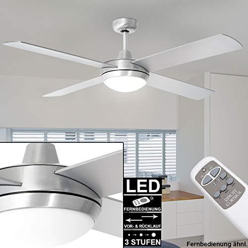 etc-shop Decken Ventilator Fernbedienung Wind Kühler Timer Lampe Silber 132 cm im Set inkl. LED Leuchtmittel