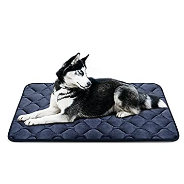 Dog Bed Mat Washable - Soft Fleece Crate Pad - Anti-slip Matress for Small Medium Large Pets (Grey L) by HeroDog
