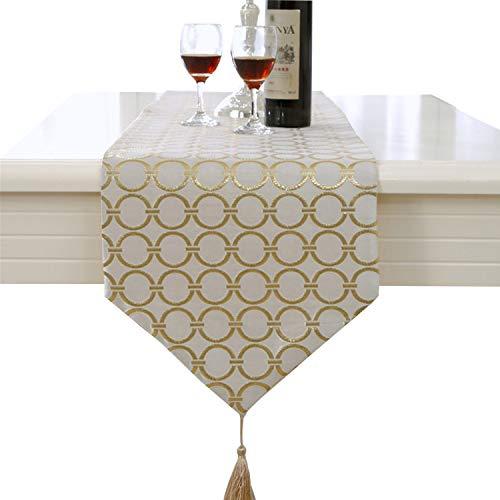 Lujo Flores cordones Camino de mesa con pared Alfombra, tejido, dorado, 33 * 210cm
