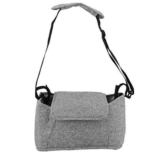 Bolsa colgante para cochecito ligero, organizador de cochecito de bebé, interior para cochecito de bebé, cochecito de bebé al aire libre(Linen gray bag (free shoulder strap))