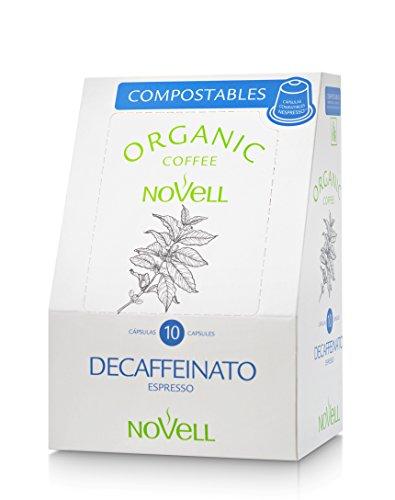 Cafés Novell Cápsulas compostables compatibles con Nespresso Descafeinado – 4 paquetes de 10 cápsulas