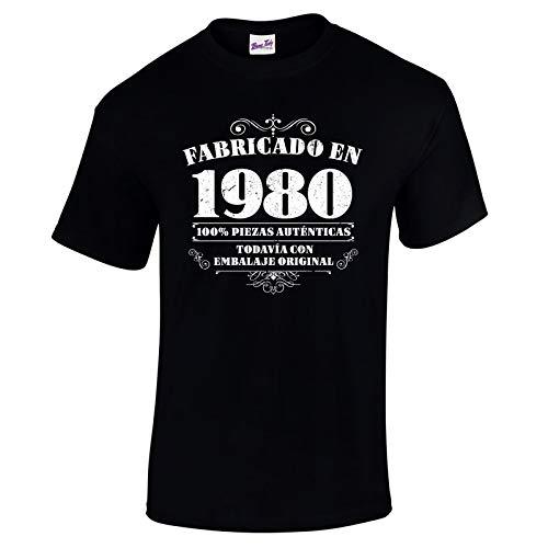 Bang Tidy Clothing Camiseta de Hombre para Regalo de 40 cumpleaños Manufactured 1980 en Negro Talla L