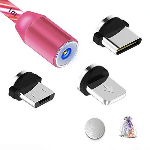Kyerivs Magnetisches USB Ladekabel mit Sichtbar fliesendem LED Licht Micro USB Ladekabel Typ C Schnelle Aufladung 3 in 1 Anschluss kompatibel fur Phone Samsung Galaxy Huawei und Mehr No Sync Data