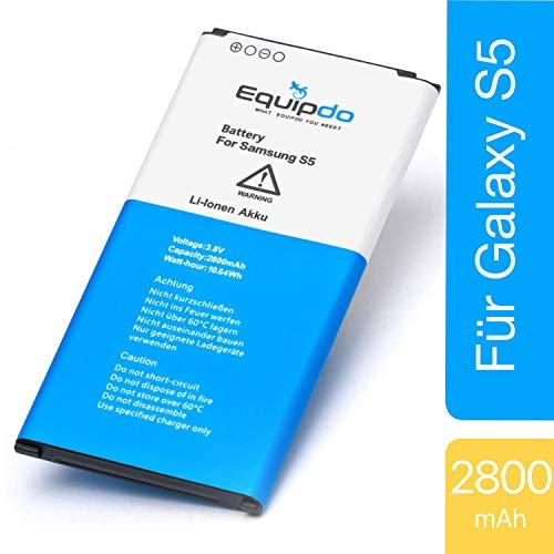 Equipdo Ersatzakku kompatibel mit Samsung Galaxy S5 - Akku auch für Neo, LTE, Active, Plus - Leistungsstarke Batterie mit Li-ion Qualitätszellen