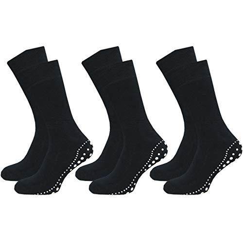GAWILO 3 Paar Damen und Herren Stoppersocken – ABS Socken – Wintersocken – Thermo – Vollplüsch – perfekt bei kalten Füßen (43-46, blau)