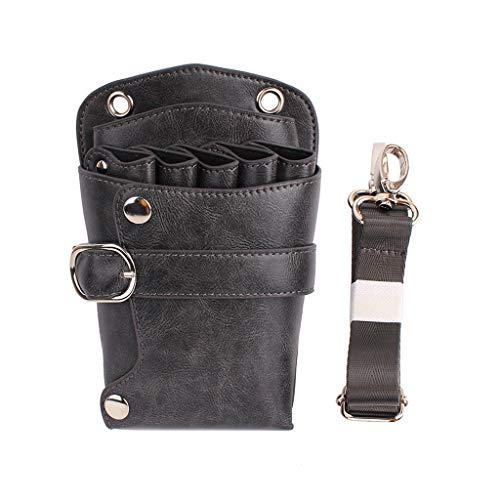 niumanery Professional Barber Leather Salon Scissors Pouch Bag Waist Pack Hairdressing Tool Grey