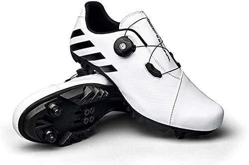 JINFAN Zapatillas de Ciclismo SPD MTB para Hombres y Mujeres, Ideales para Bicicletas de Montaña, Ciclo de Fondo, XC, Incluidas,White-38