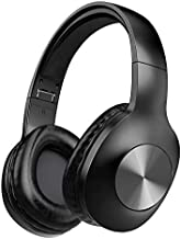 LETSCOM Bluetooth Headphones, 100 Hours Playtime Bluetooth 5.0 Headphones Over Ear with Deep Bass, Hi-Fi Sound and Soft Earpads, Built-in Mic, Wired/Wireless Headset for Home Office-Black