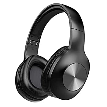 LETSCOM Bluetooth Headphones 100 Hours Playtime Bluetooth 5.0 Headphones Over Ear with Deep Bass Hi-Fi Sound and Soft Earpads Built-in Mic Wired/Wireless Headset for Home Office-Black