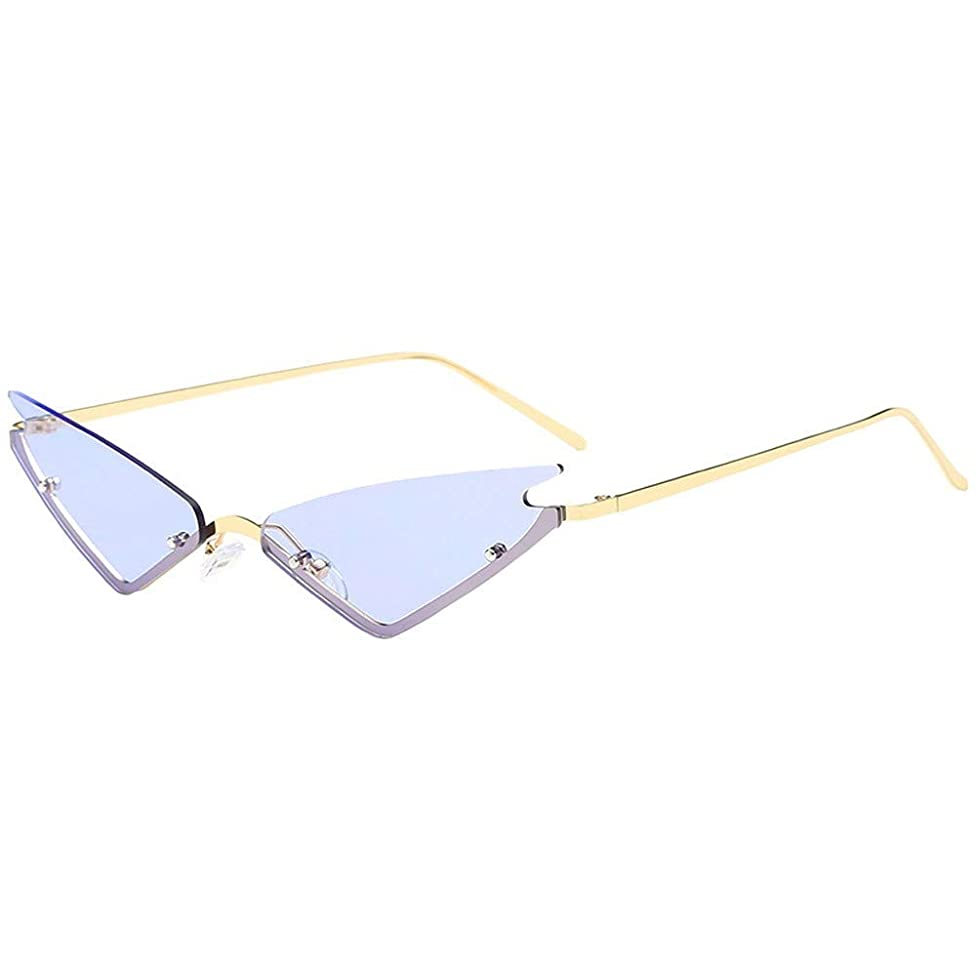 Berryhot Small Cat Eye Sunglasses Triangle Rimless Sunglasses Colored Transparent Sunglasses For Women and Men