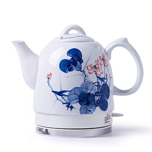 SCXY Teteras - Tetera de hervidor Blanca inalámbrica de cerámica eléctrica - Retro, 1350w, hierve Agua rápido para el té, café, Sopa, harina de Avena - Base extraíble, protección Seca de hervir/a