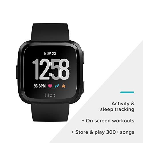 Fitbit Versa Montre Smart Watch, Noir/Noir en Aluminium, Taille (Bandes S & L Inclus)