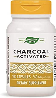 Nature's Way Charcoal Activated; 560 mg Charcoal per serving; 100 Capsules (Packaging May Vary), Pack of 2