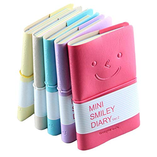 Formemory 5 Pcs Mini Smiley Diary Notizbuch,Tragbar Tagebuch Notizbuch mit PU Leder,Office Stationery Memo Buch,Tagebuch mit Gummiband
