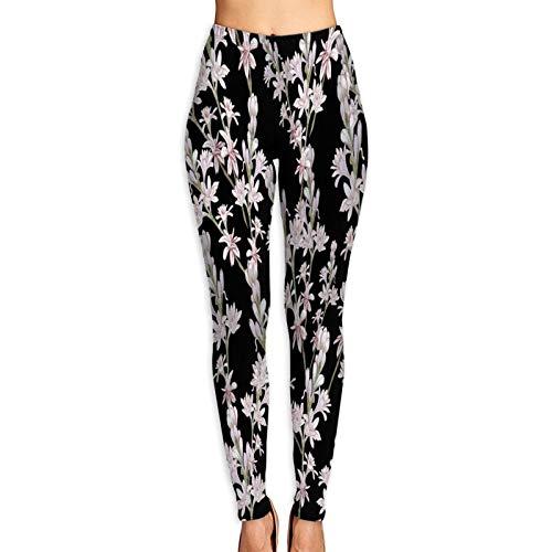 Pantalones de Yoga para Mujer,Ramas de Nardo de Patrones sin Fisuras Perfumería Medicinal,Pantalones de Entrenamiento de Cintura Alta Medias elásticas de Yoga Impresas S