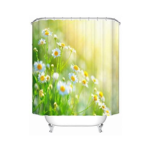 Duschvorhang aus Stoff, Vanille-Blumenmuster für Badezimmer, elegante Dekoration, Set mit wasserdichten Haken