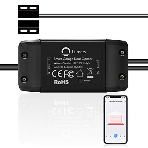 Lumary Smart - Abridor de puerta de cochera compatible con Alexa y Google Assistant, control de aplicaciones Wi-Fi, modos de notificación de mensajes, no requiere concentrador