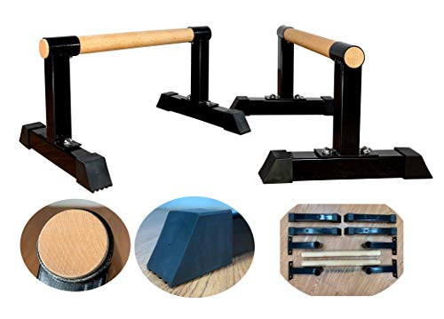 MARFULA Parallettes (Set of 2) with Wood Crossbar Push up bar Handstand bar for Gymnastics, Handstand,Pushups
