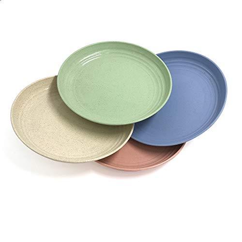 4 platos ligeros de paja de trigo de 17.5 cm, plato de cena irrompible para bebés y niños, pequeños, anticaídos, apto para lavavajillas y microondas. 4 colores