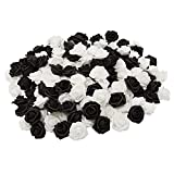 Artificial Roses, 2-in Faux Flower Heads for Crafts, Decor (Black, White, 200 Pack)