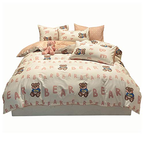 DYXYH Bettdecke Bettwäsche Sätze Cartoon Mode Simple Nette Bettwäsche-Sets Kind Twin Full Queen Size-Kissenbezug Duvet Cover Bettblatt (Size : 1.2cm)