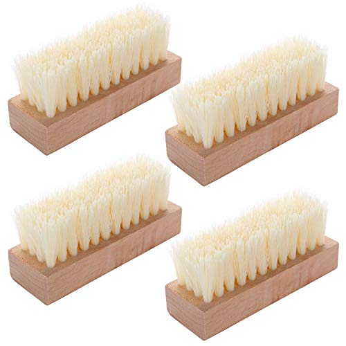 4 Pieces Non-Slip Wooden Hand Nail Scrub Brush for Toes and Nails Cleaning