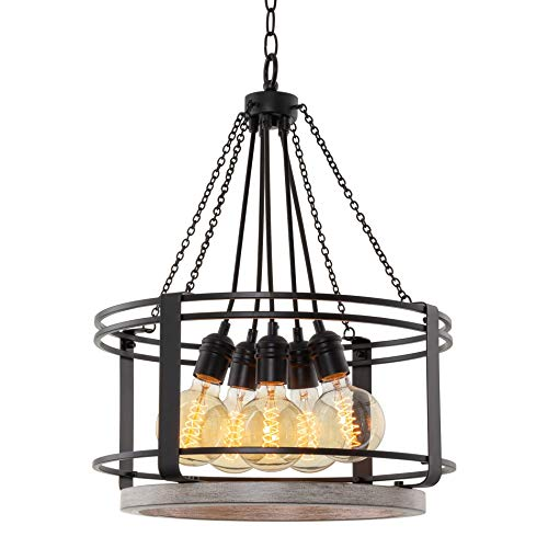 "Kira Home Camden 18"" 5-Light Modern Farmhouse Chandelier, Light Cedar Wood Style + Black Finish"