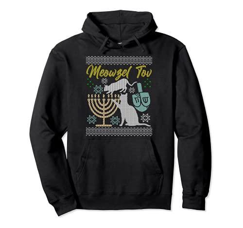 Meowzel Tov Ugly Hanukkah Sweater Cats Jewish Cat Chanukkah Pullover Hoodie
