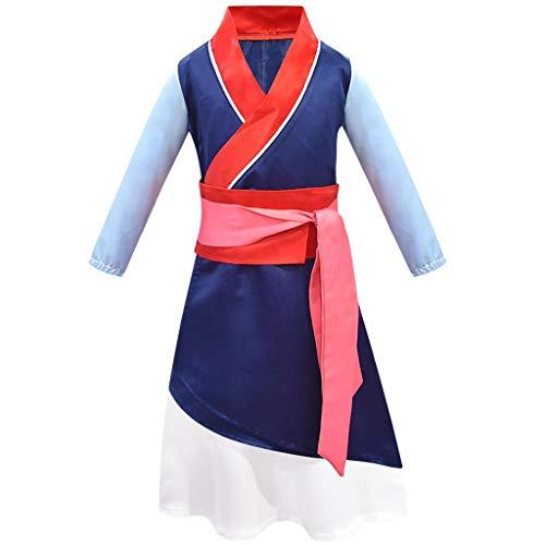 Lito Angels Costume da principessa Hua Mulan per bambina Hanfu Vestire l'eroina cinese Vestito da festa di Halloween 9-10 Anni Blu 276