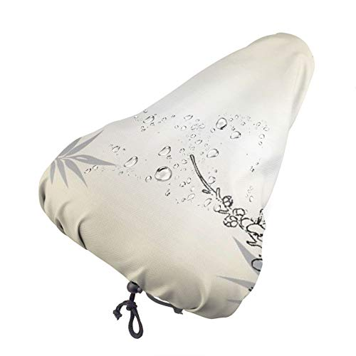 BYTKMRY Bike Seat Cover,Bamboo and Cherry Blossoms Tree Zen Waterproof Bike Seat Rain Cover with Drawstring,Rain and Dust Resistant