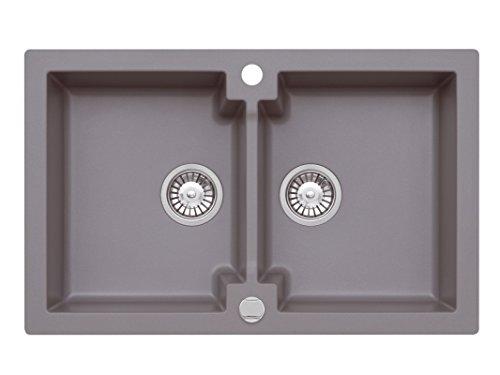 Einbau Spüle Mojito 160 für 80er Axigranit Doppelbecken Küchenspüle 79 x 50 cm (Axis Moonlight Grey)