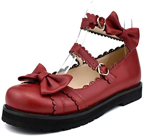 100FIXEO Women Fashion Flat Heel Bow Buckle Strap Platform Round Toe Cosplay Lolita Mary Janes product image