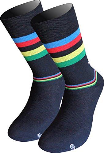 TKS Campeon del Mundo Calcetines Lagos Media Caña Tradicional. Compresion Ligera calcetin especifico de Ciclismo, Running Y Trailrunning (Negro, S(36-39))